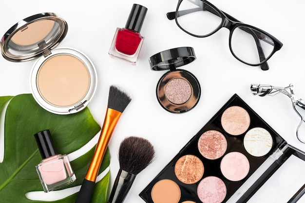 Beauty products in flat lay