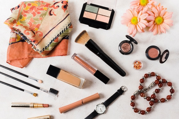 Beauty products on light surface