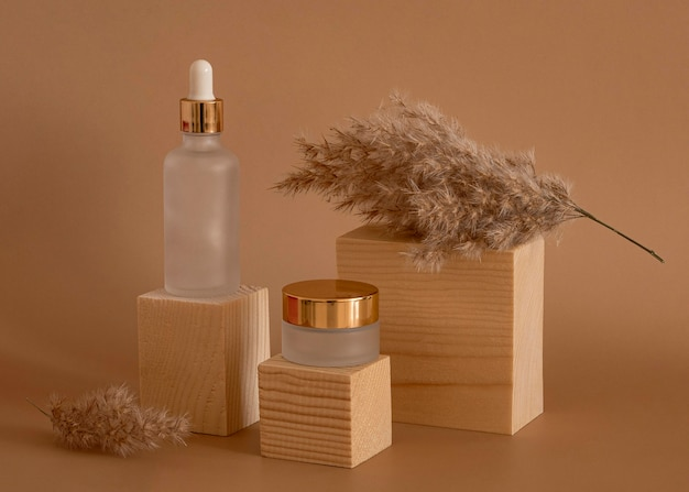 Beauty products in recipients assortment on wooden blocks
