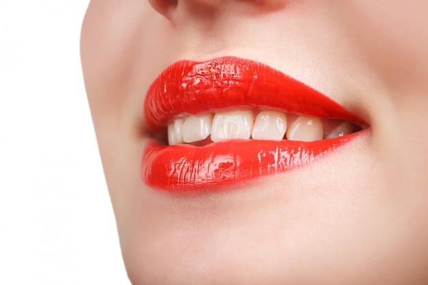 Beauty red lip makeup detail.
