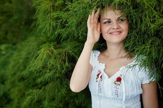 Beauty romantic woman outdoors