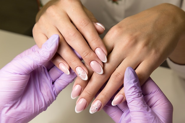 Beauty salon for work with nails manicure.