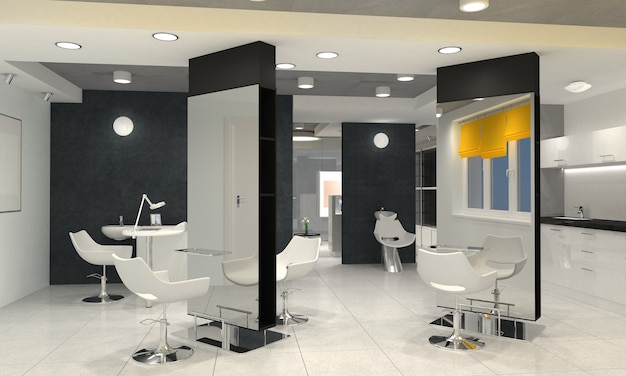 Beauty saloon interior visualization of 3d rendering