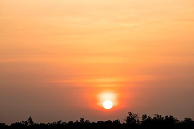 日没の春の空にピンクの雲の美空