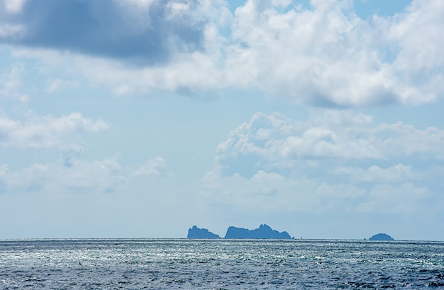 The beauty of the sky in the sea and island at chumphon in thailand.
