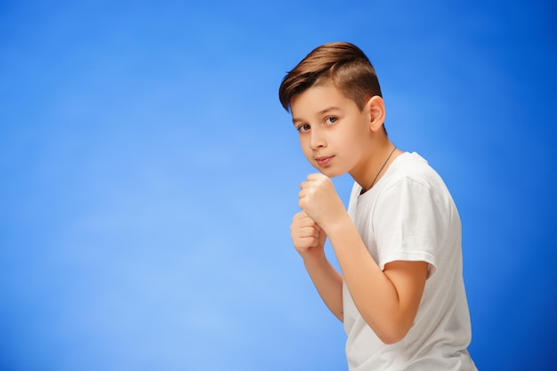 Beauty smiling sport child boy boxing