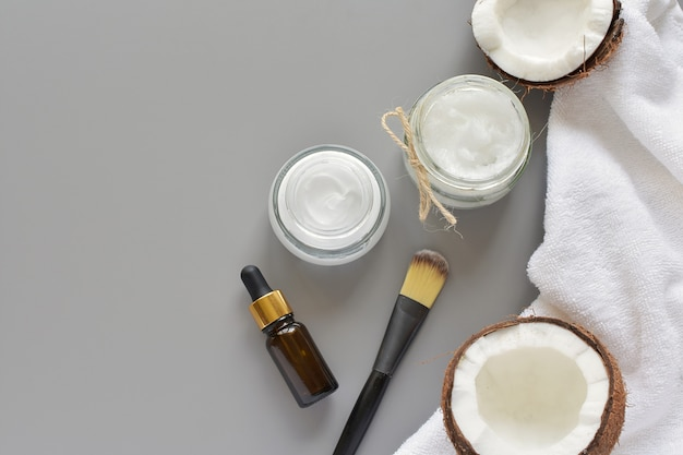 Beauty, spa, skin care products, natural ingredients, coconut oil, facial mask.