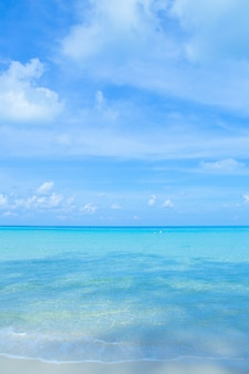 The beauty of the summer beach and the clear sea on the bright sky.