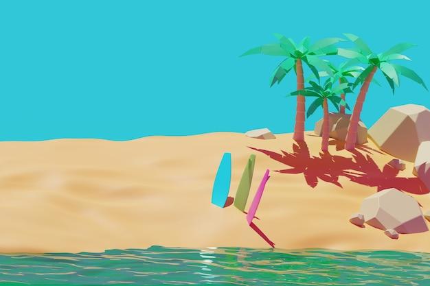 Красота летний пляж, доска для серфинга, песок, фоновая анимация пальмы 3d рендеринг