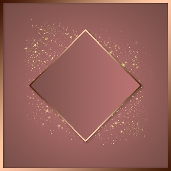 Beauty template for advertising, space for text, golden square frame, luminous powder