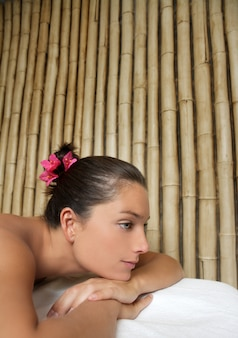 Beauty therapy beautiful woman bamboo