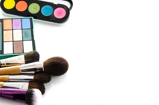Beauty tools palettes collection. top view