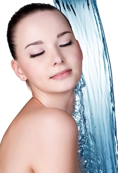 Beauty treatment concept of woman with blue water isolated on white