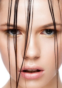 Beauty trend fashion makeup girl with wet hair