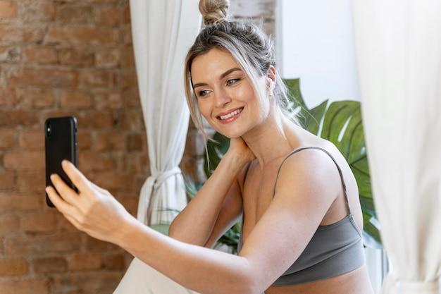 Beauty vlogger doing a selfie