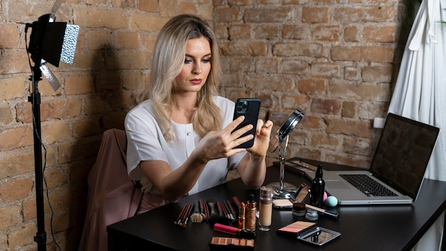 Beauty vlogger making a video for her followers