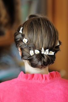 Beauty wedding hairstyle close up