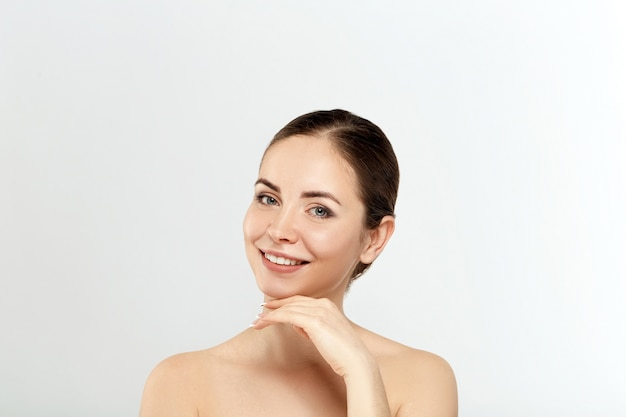 Beauty woman cosmetics. portrait of female perfect clean skin.  cosmetology, beauty and spa