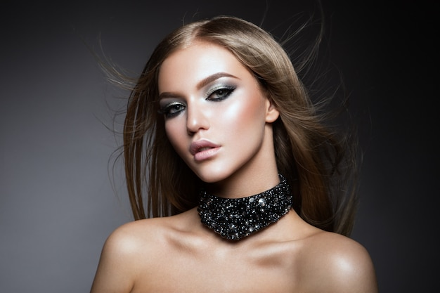 Beauty woman face portrait. beautiful model woman with perfect fresh clean skin
