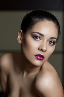 Beauty woman face portrait. beautiful spa model girl with perfect fresh clean skin. brunette female looking at camera.