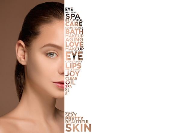 Портрет лица женщины красоты с идеальной кожей
