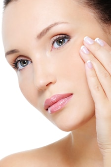 Beauty woman showing aging process of skin