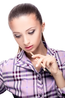 Beauty woman with makeup brushes. natural make-up for brunette girl  beautiful face. makeover. perfect skin