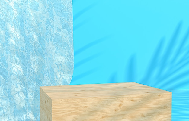 Beauty wood podium blue backdrop for product display with tropical palm leaves