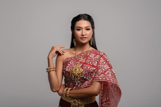 Beautyful thai woman wearing thai dress