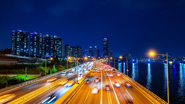 Beautyful of traffic in seoul at night and cityscape, south korea with motion blur