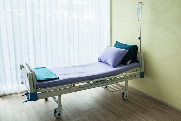 Bed in the hospital waiting used for sick people