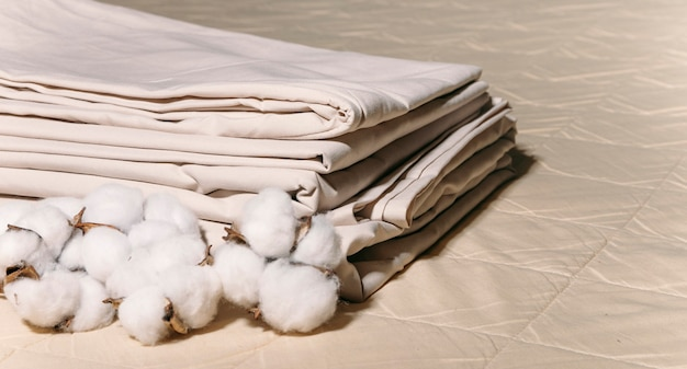 Bed linen and cotton the concept of a cozy home