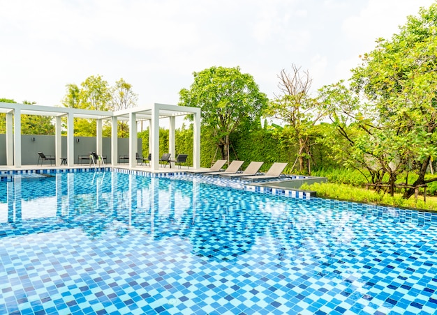 Bed pool with outdoor swimming pool in hotel and resort