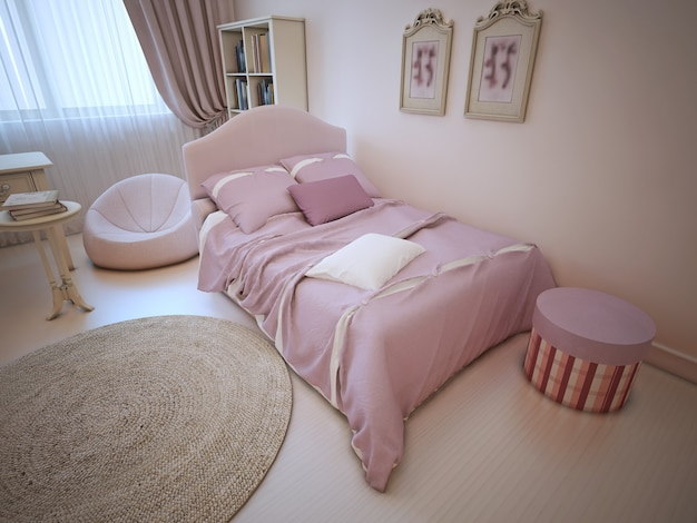 Bed in provence styled bedroom