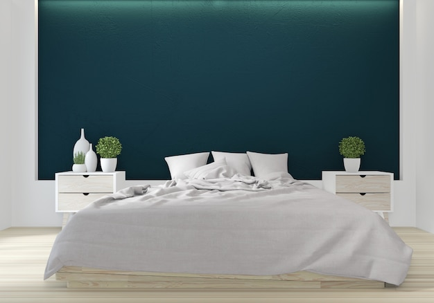 Bed room green color japanese interior design