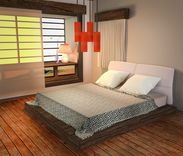 Bed room interior - japanese modern style, wooden floor and red lamp. 3d rendering