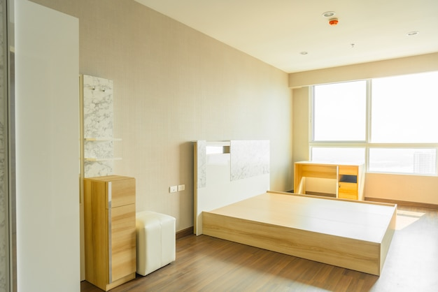 Bed in room interior