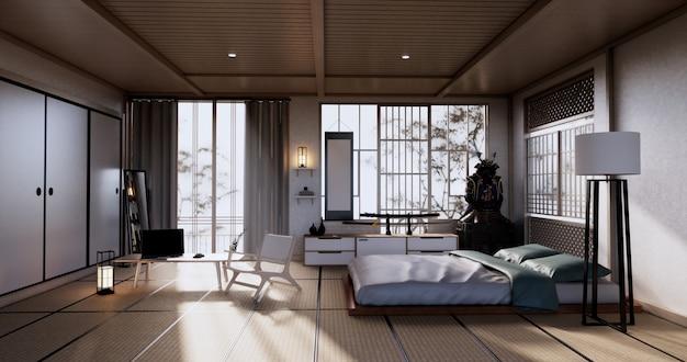 열대 객실 인테리어와 다다미 바닥에 침실 일본 디자인. 3d 렌더링