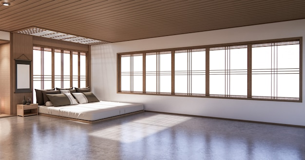 トロピカルルームインテリアと畳敷きのベッドルーム和風デザイン