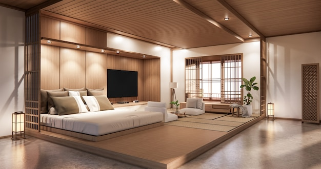 Bed room japanese design on tropical room interior and tatami mat floor