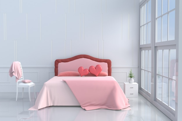 Bed room of love on valentine`s day.red heart on pink bed, window,chair,pillow,blanket. 3d