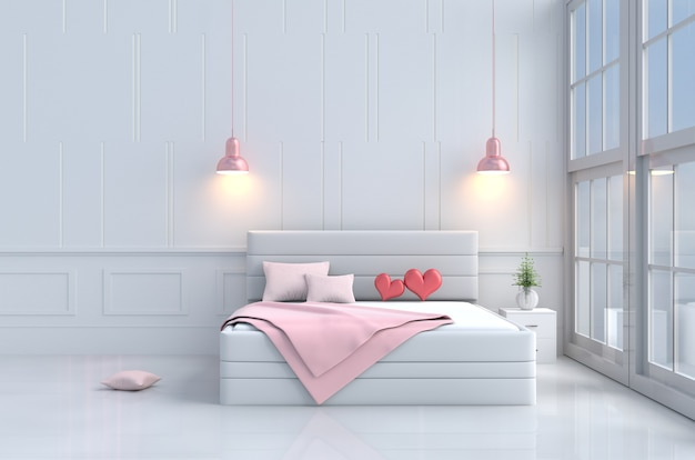 Bed room of love on valentine`s day.red heart on pink bed,window,chair,pillow,blanket,lamp