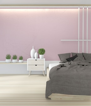 Bed room pink color  japanese interior design