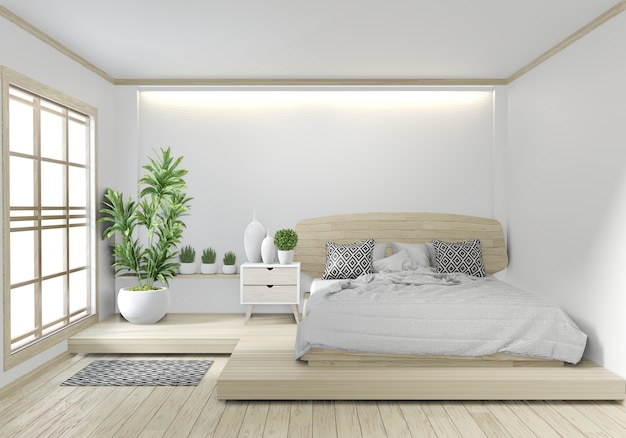 Bed room wooden hotel japanese zen design with hiden light on white wall background