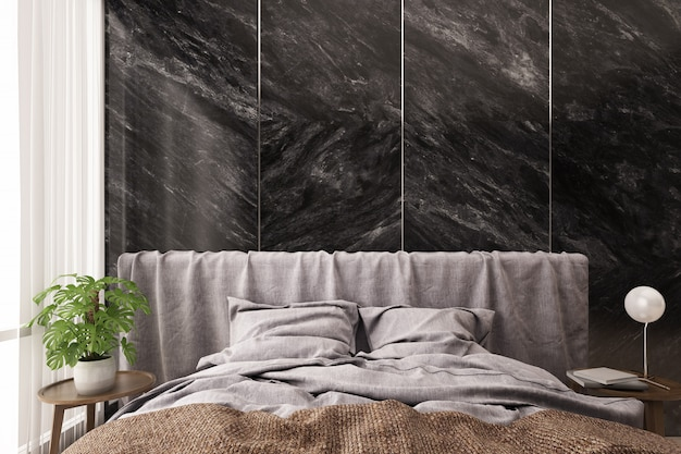 Bed and side table with black marble wall background