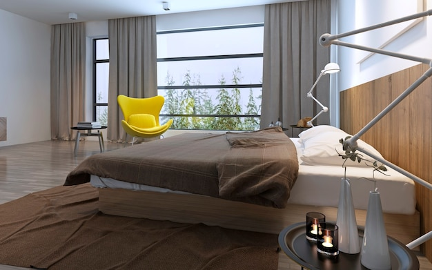 Bed and yellow chair in bedroom with large window, daylight with included lights, brown decorations. 3d render