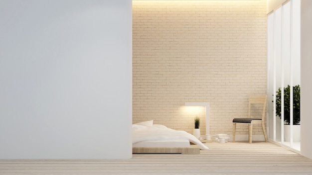 ホテルまたはアパートの寝室とバルコニー - インテリアデザイン -  3dレンダリング