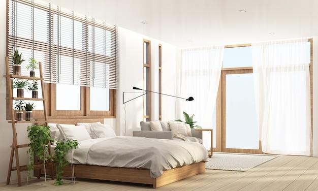 Спальня и гостиная в современном современном стиле с деревянной оконной рамой и прозрачным 3d-рендерингом