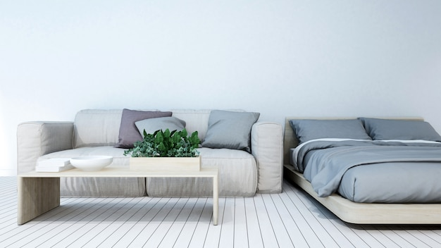 Bedroom in apartment or hotel - 3d rendering