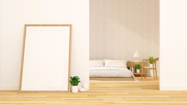 Bedroom and art room clean design - 3d rendering